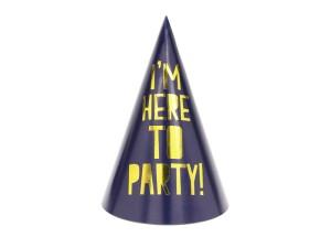 """Czapeczki - Zestaw czapeczek urodzinowych """"I am here to Party"""""""