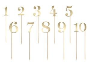 Numery na stół - Numery na stoły gości złote