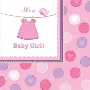 """Serwetki papierowe z napisami - Serwetki na Narodziny """"Baby Girl"""" / 33x33 cm"""