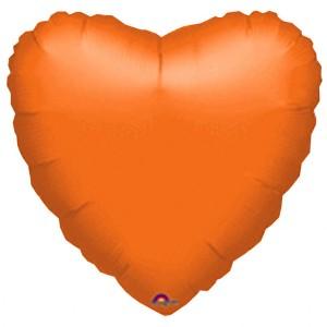 Balony foliowe Serca - Balon foliowy metalizowany - Serce pomarańczowe / 43 cm