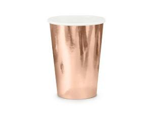 Kubeczki jednorazowe, różowe złoto / 220 ml