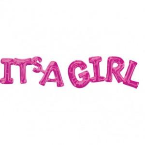 """Napisy z balonów foliowych na powietrze - Balon na Narodziny dziecka foliowy """"It is a girl"""""""