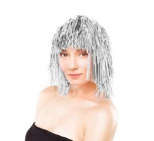 Peruki - Peruka foliowa / włosy anielskie, srebrna