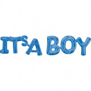 """Napisy z balonów foliowych na powietrze - Balon na Narodziny dziecka foliowy It is a boy"""""""