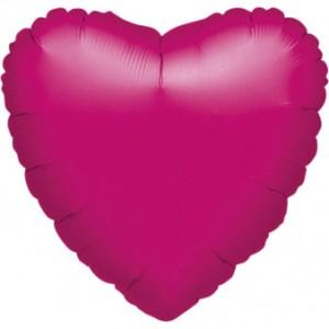 Balony foliowe Serca - Balon foliowy metalizowany - Serce fuksja / 43 cm