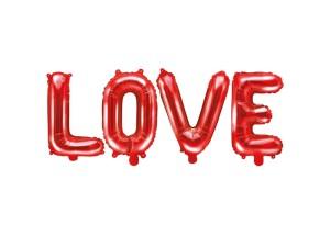Napisy z balonów foliowych na powietrze - Balon foliowy napis Love, czerwony / 35X140 cm