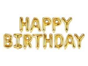 """Girlandy napisy z balonów na powietrze - Balon foliowy napis """"Happy Birthday"""", złoty / FB6M-019"""