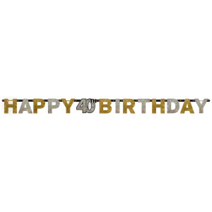 """Girlandy cyfry i liczby - Girlanda urodzinowa """"Happy 40 Birthday """" / 120204"""