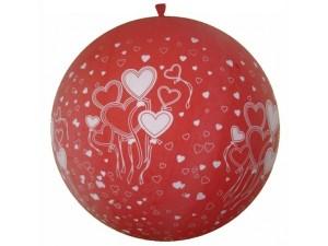 Balony lateksowe Olbo - Balon lateksowy OLBO - pastelowy czerwony w Serca / średnica 1 m