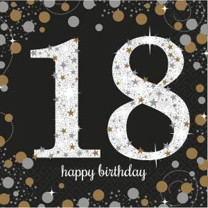 """Serwetki bibułowe cyfry i liczby - Serwetki papierowe """"18 urodziny"""" Sparkling Celebration / 33x33cm"""
