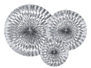 Rozety dekoracyjne - Rozety dekoracyjne, metalizowane srebrne / średnica 23,32 i 40 cm