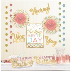 """Dekoracje papierowe - Zestaw Dekoracji """"Happy Birth Day"""" / 12 elementów"""