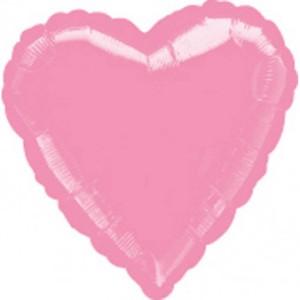 Balony foliowe Serca - Balon foliowy metalizowany - Serce pudrowy róż / 43 cm