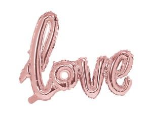 """Napisy z balonów foliowych na powietrze - Balon foliowy napis """"Love"""", różowe złoto / 73X59 cm"""
