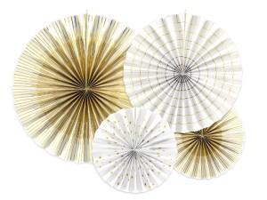 Rozety dekoracyjne - Rozety dekoracyjne, białe ze złotymi wzorami / średnica 23,32 i 40 cm