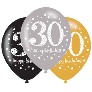 Balony lateksowe na okrągłe urodziny - Balony na 30 urodziny, mix złoty / 27,5 cm