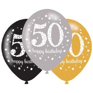 Balony lateksowe na okrągłe urodziny - Balony na 50 urodziny, mix złoty / 27,5 cm