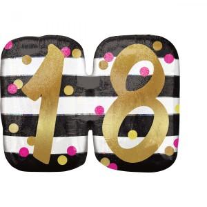 """Balony foliowe z cyframi i liczbami - Balon na urodziny foliowy na """"18 urodziny"""" / 63x50 cm"""