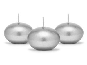 Świeczki pływające - Świeca pływająca metalizowana, srebrna / 4 cm