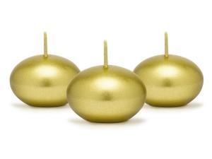 Świeczki pływające - Świeca pływająca metalizowana, złota / 4 cm
