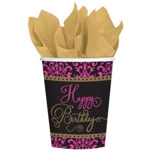 """Kubeczki z napisami papierowe - Kubeczki papierowe Fabulous """"Happy Birthday"""" / 266 ml"""