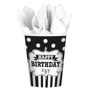 """Kubeczki z napisami papierowe - Kubeczki papierowe z napisem """"Happy Birthday"""" / 266 ml"""