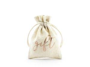 """Pudełeczka na podziękowania dla gości - Woreczki bawełniane w stylu rustykalnym na podziękowania dla gości """"Gift"""" / WRB1-019R"""