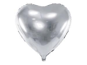 Balony foliowe Serca - Balon foliowy metalizowany Serce srebrne, 61 cm / FB23M-018