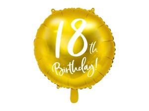 """Balony foliowe z cyframi i liczbami - Balon foliowy 18"""" """"18th Birthday"""" na 18 urodziny / FB24M-18-019"""