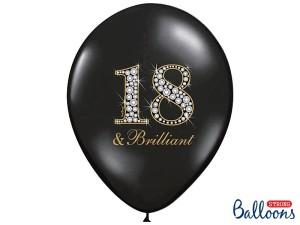 """Balony lateksowe cyfry i liczby - Balony na 18 urodziny """"18 & Brilliant"""" / SB14P-136-010/6"""
