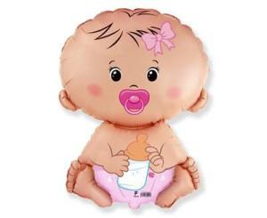 """Balony foliowe o nietypowych kształtach - Balon na Narodziny dziecka  foliowy 24"""" """"Bobas Dziewczynka"""" (niezapakowany) / 901752"""