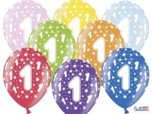 """Balony lateksowe cyfry i liczby - Balony lateksowe z cyferką """"1"""" na Roczek mix kolorów / SB14M-001-000-6"""