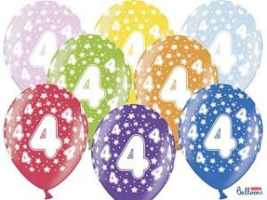 Balony lateksowe cyfry i liczby - Balony na 4 urodziny, mix kolorów / SB14M-004-000-6