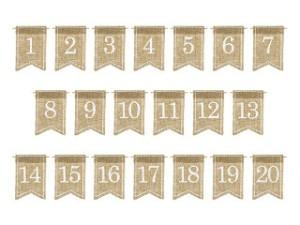 Numery na stół - Numery na stoły gości z juty w stylu rustykalnym / KPZ5-008