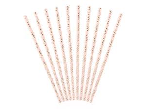 Słomki proste papierowe - Słomki papierowe, różowo-złote / 19.5 cm