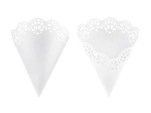 Konfetti kropki - Rożki na konfetti, białe / 20 cm