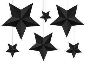 Gwiazdy wiszące - Zestaw czarnych papierowych gwiazd 3D