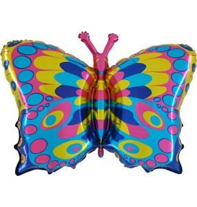 """Balony foliowe zwierzątka - Balon foliowy tęczowy """"Motyl"""" (niezapakowany)"""