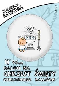 """Balony na Chrzest Święty - Balon foliowy """"Chrzest Święty- chłopiec"""" / 74153P"""