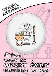 """Balony na Chrzest Święty - Balon foliowy """"Chrzest - dziewczynka"""" / 74154P"""