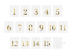 Numery na stół - Numery na stoły gości w formie naklejek na butelkę / 9,5x12 cm