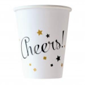 """Kubeczki z napisami papierowe - Kubeczki papierowe Golden Wishes """"Cheers"""" / 250 ml"""