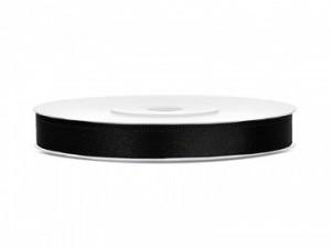 Tasiemki satynowe 6 mm - Tasiemka satynowa, czarna / 6 mm