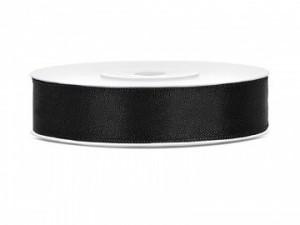 Tasiemki satynowe 12 mm - Tasiemka satynowa, czarna / 12 mm