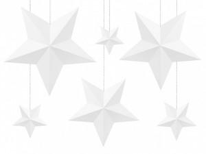 Gwiazdy wiszące - Zestaw białych papierowych gwiazd 3D