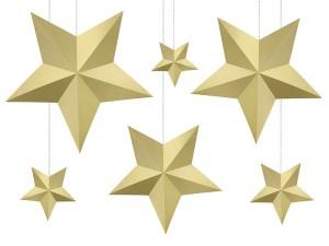 Gwiazdy wiszące - Zestaw złotych papierowych gwiazd 3D