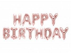"""Girlandy napisy z balonów na powietrze - Balon foliowy napis """"Happy Birthday"""", różowe złoto / FB6M-019R"""