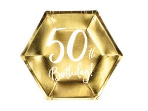 Talerzyki cyfry i liczby - Talerzyki papierowe na 50 urodziny / TPP73-50-019M