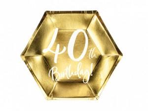 Talerzyki cyfry i liczby - Talerzyki papierowe na 40 urodziny / TPP73-40-019M