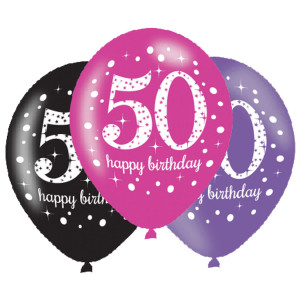 Balony lateksowe na okrągłe urodziny - Balony na 50 urodziny, mix różowy / 27,5 cm